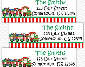 Christmas Train - Personalized Address labels, Stickers