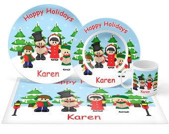 Christmas Carolers Plate Set - Personalized Kids Plate, Bowl, Mug & Placemat - Carolers Plate Set - Kids Plastic Tableware - Microwave Safe