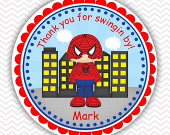 Spiderman Super heros - Personalized Stickers, Party Favor Tags, Thank You Tags, Gift Tags, Address labels, Birthday, Baby Shower