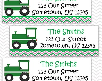 Tractor Girl Pink - Personalized Address labels, Stickers