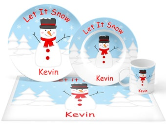 Snowman Plate Set - Personalized Kids Plate, Bowl, Mug & Placemat - Snowman Plate Set - Kids Plastic Tableware - Microwave Safe
