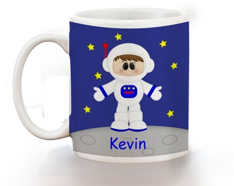 Astronaut Boy Personalized Kids Mug, Personalized Polymer Mug, Personalized Ceramic Mug, Custom Personalized Kids Mug
