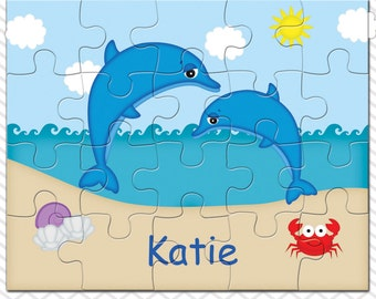 Dolphins Personalized Puzzle, Personalized Dolphins Puzzle, Personalized Kids Puzzle