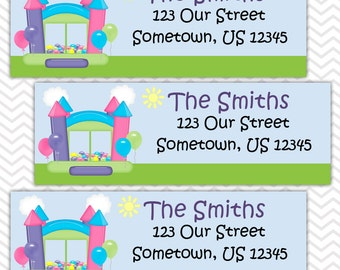 Bounce House Pastel Girl - Personalized Address labels, Stickers