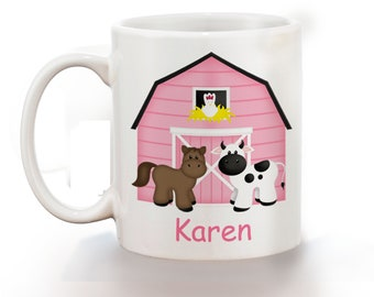 Barn Yard Pink Personalized Kids Mug, Personalized Polymer Mug, Personalized Ceramic Mug, Custom Personalized Kids Mug
