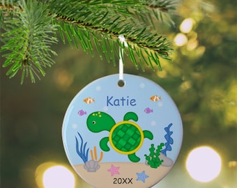Turtle Ornament - Personalized Turtle Ornament, Turtle Ornament, Kids Ornament, Christmas Tree Ornament