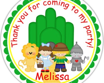 Wizard of OZ - Personalized Stickers, Party Favor Tags, Thank You Tags, Gift Tags, Address labels, Birthday, Baby Shower