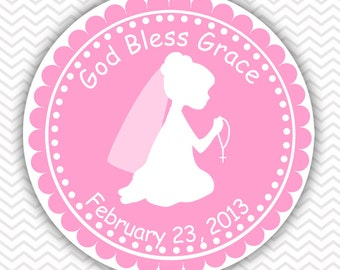 Kneeling Girl Pink Baptism Christening First Holy Communion - Personalized Stickers, Party Favor Tags, Thank You Tags, Gift Tags