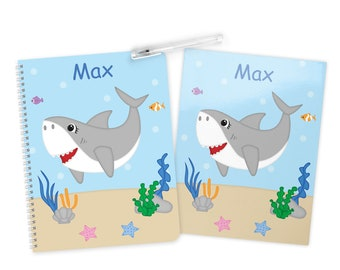 Shark Folder Notebook Set - Personalized School Folder - Personalized Notebook - Folder with Name - Back to School