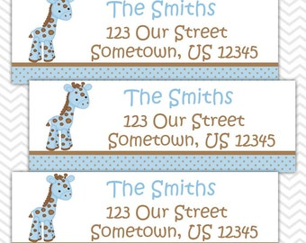 Baby Giraffe Blue - Personalized Address labels, Stickers, Baby Shower