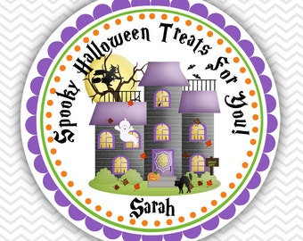 Halloween Haunted House- Personalized Stickers, Party Favor Tags, Thank You Tags, Gift Tags