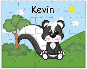 Skunk Personalized Puzzle, Personalized Skunk Puzzle, Personalized Kids Puzzle