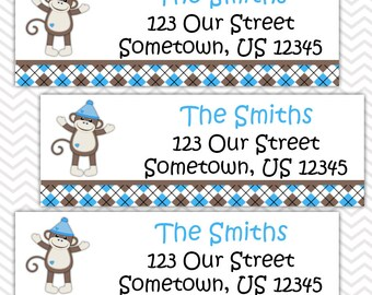 Sock Monkey Blue  - Personalized Address labels, Stickers, Baby Shower, Birthday