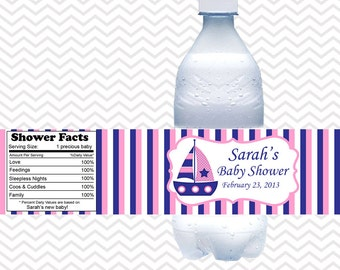 Nautical Blue Pink  - Personalized water bottle labels - Set of 5  Waterproof labels