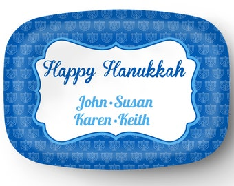 Personalized Platter - Custom Tray for Hanukkah - Personalized Hanukkah Serving Platter - Custom Melamine Platter
