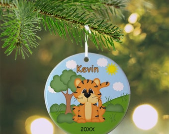 Tiger Ornament - Personalized Tiger Ornament, Tiger Ornament, Kids Ornament, Christmas Tree Ornament