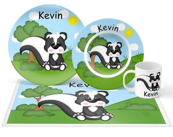 Skunk Plate Set - Personalized Kids Plate, Bowl, Mug & Placemat - Skunk Plate Set - Kids Plastic Tableware - Microwave Safe