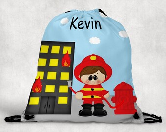 Fireman Personalized Drawstring Backpack - Fireman Backpack - Firemen Sports Bag - Personalized Kids Drawstring Bag