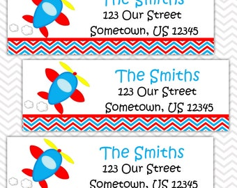 Airplane - Personalized Address labels, Stickers, Baby Shower, Birthday