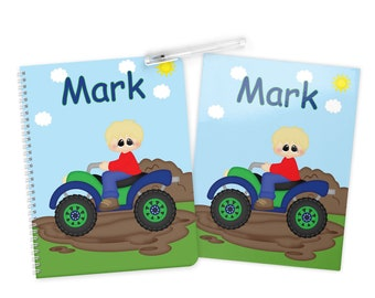 ATV Boy - 4 Wheeler Folder Notebook Set - Personalized School Folder - Personalized Notebook - Folder with Name - Back to School