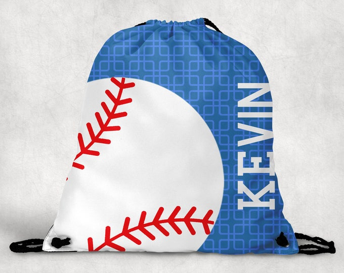 Featured listing image: Personalized Drawstring Backpack - Baseball Backpack - Baseball Sports Bag - Personalized Kids Drawstring Bag
