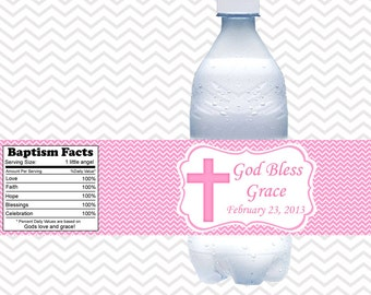Cross Pink Baptism Christening First Holy Communion  - Personalized water bottle labels - Set of 5  Waterproof labels