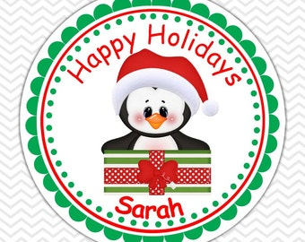 Christmas Penguin Present-  Personalized Stickers, Party Favor Tags, Thank You Tags, Gift Tags, Address labels, Birthday