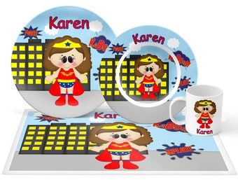 Wonder Women Plate Set - Personalized Kids Plate, Bowl, Mug & Placemat - Super Hero Plate Set - Kids Plastic Tableware - Microwave Safe
