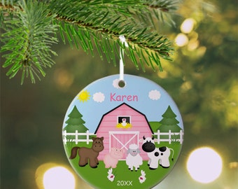 Barn Yard Pink Ornament - Personalized Farm Ornament, Animals Ornament, Kids Ornament, Christmas Tree Ornament