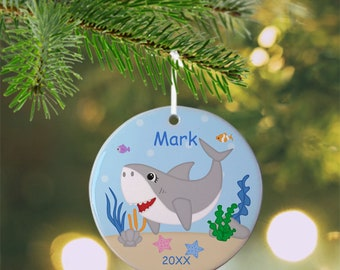 Shark Ornament - Personalized Shark Ornament, Shark Ornament, Kids Ornament, Christmas Tree Ornament