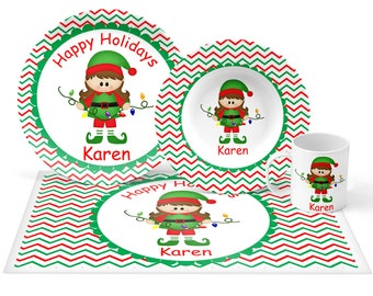Christmas Elf Girl Plate Set - Personalized Kids Plate, Bowl, Mug & Placemat - Elf Plate Set - Kids Plastic Tableware - Microwave Safe