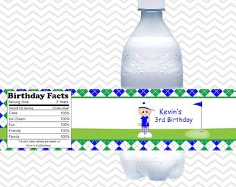 Golf Boy - Personalized Water bottle labels - Set of 5 Waterproof labels