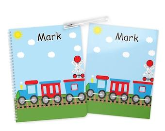 Train Folder Notebook Set - Personalized School Folder - Personalized Notebook - Folder with Name - Back to School