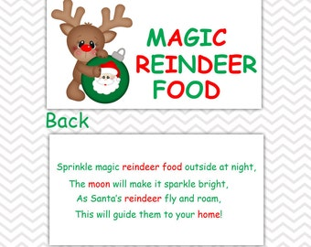 Christmas Magic Reindeer Food - Personalized DIY Christmas Printable Bag Topper, Treat Topper, Food Tent