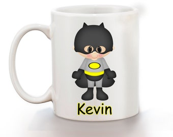 Batman Super Hero Personalized Kids Mug, Personalized Polymer Mug, Personalized Ceramic Mug, Custom Personalized Kids Mug