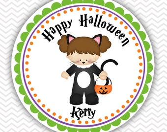 Halloween Cat Girl- Personalized Stickers, Party Favor Tags, Thank You Tags, Gift Tags