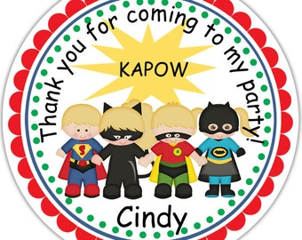 Super Heros - Personalized Stickers, Party Favor Tags, Thank You Tags, Gift Tags, Address labels, Birthday, Baby Shower