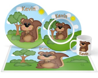 Squirrel Plate Set - Personalized Kids Plate, Bowl, Mug & Placemat - Squirrel Plate Set - Kids Plastic Tableware - Microwave Safe