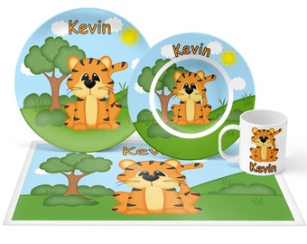 Tiger Plate Set - Personalized Kids Plate, Bowl, Mug & Placemat - Tiger Plate Set - Kids Plastic Tableware - Microwave Safe