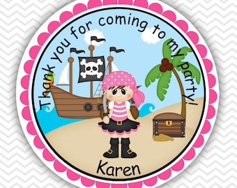Pirate Girl - Personalized Stickers, Party Favor Tags, Thank You Tags, Gift Tags, Address labels, Birthday, Baby Shower
