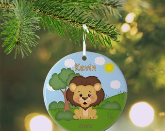 Lion Ornament - Personalized Lion Ornament, Lion Ornament, Kids Ornament, Christmas Tree Ornament