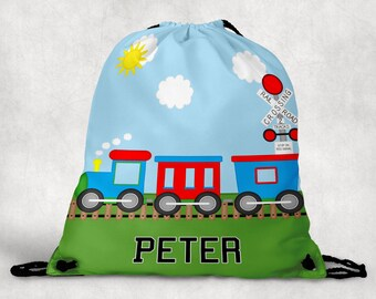 Train Personalized Drawstring Backpack - Train Backpack - Train Sports Bag - Personalized Kids Drawstring Bag