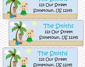 Luau Girl - Personalized Address labels, Stickers