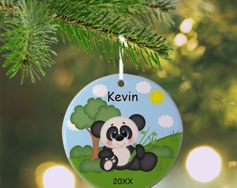 Panda Ornament - Personalized Panda Ornament, Panda Ornament, Kids Ornament, Christmas Tree Ornament