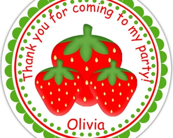 Strawberries - Personalized Stickers, Party Favor Tags, Thank You Tags, Gift Tags, Address labels, Birthday, Baby Shower