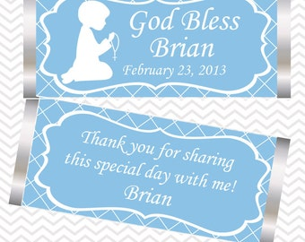 Kneeling Boy Blue Baptism Christening First Holy Communion - Personalized Candy Bar Wrapper