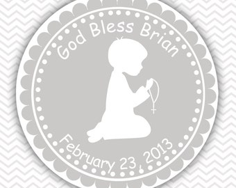 Kneeling Boy Grey Baptism Christening First Holy Communion - Personalized Stickers, Party Favor Tags, Thank You Tags, Gift Tags
