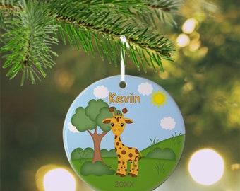 Giraffe Ornament - Personalized Giraffe Ornament, Giraffe Ornament, Kids Ornament, Christmas Tree Ornament
