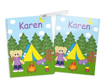 Camping Girl Folder Notebook Set - Personalized School Folder - Personalized Notebook - Folder with Name - Back to School