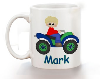 ATV 4-Wheeler Boy Personalized Kids Mug, Personalized Polymer Mug, Personalized Ceramic Mug, Custom Personalized Kids Mug